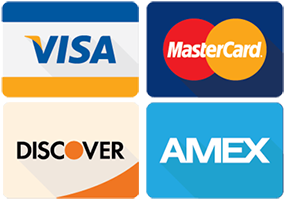 We accpet VISA, MasterCard, Discover and American Express